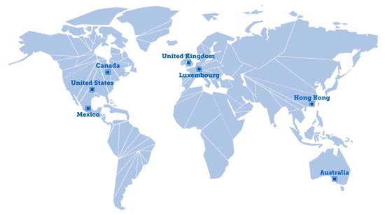 World wide offices and customer services, Canada, United States, Mexico, United Kingdom, Luxembourg, Hong Kong, and Australia