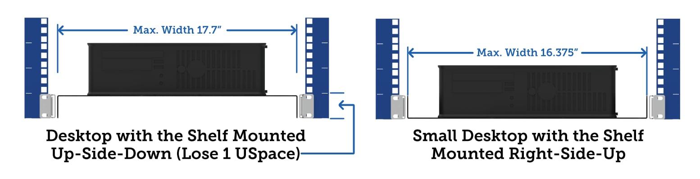 Mount inverted server rack shelf