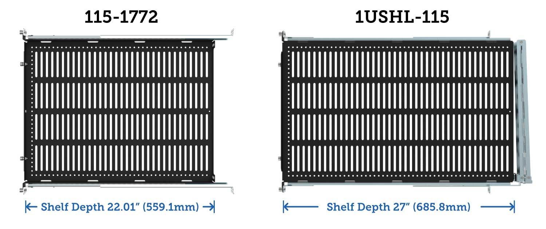 Sliding Equipment Shelf Depth Comparison