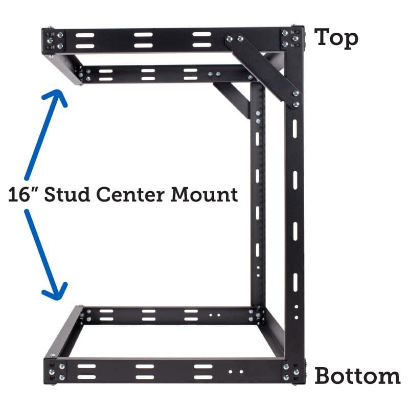 TechEdge 12U Wall Mount Rack Top and Bottom Stud Center Mount