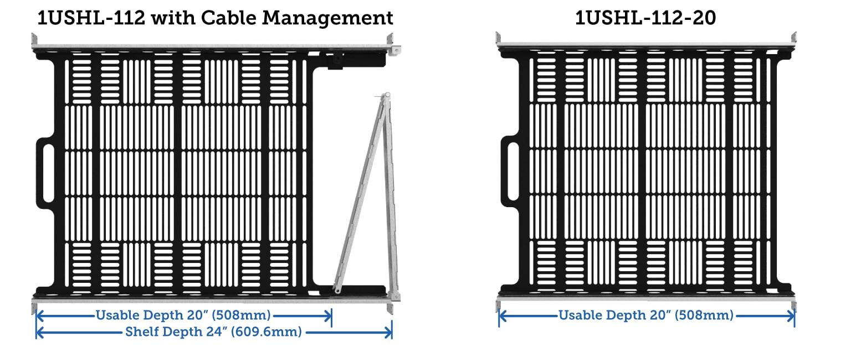 sliding seismic transport shelf cable management bar