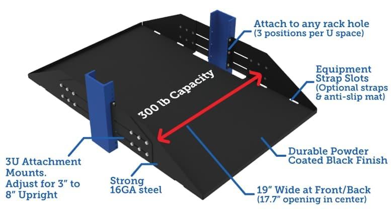 3U Adjustable 2 Post Relay Rack Shelf - 29