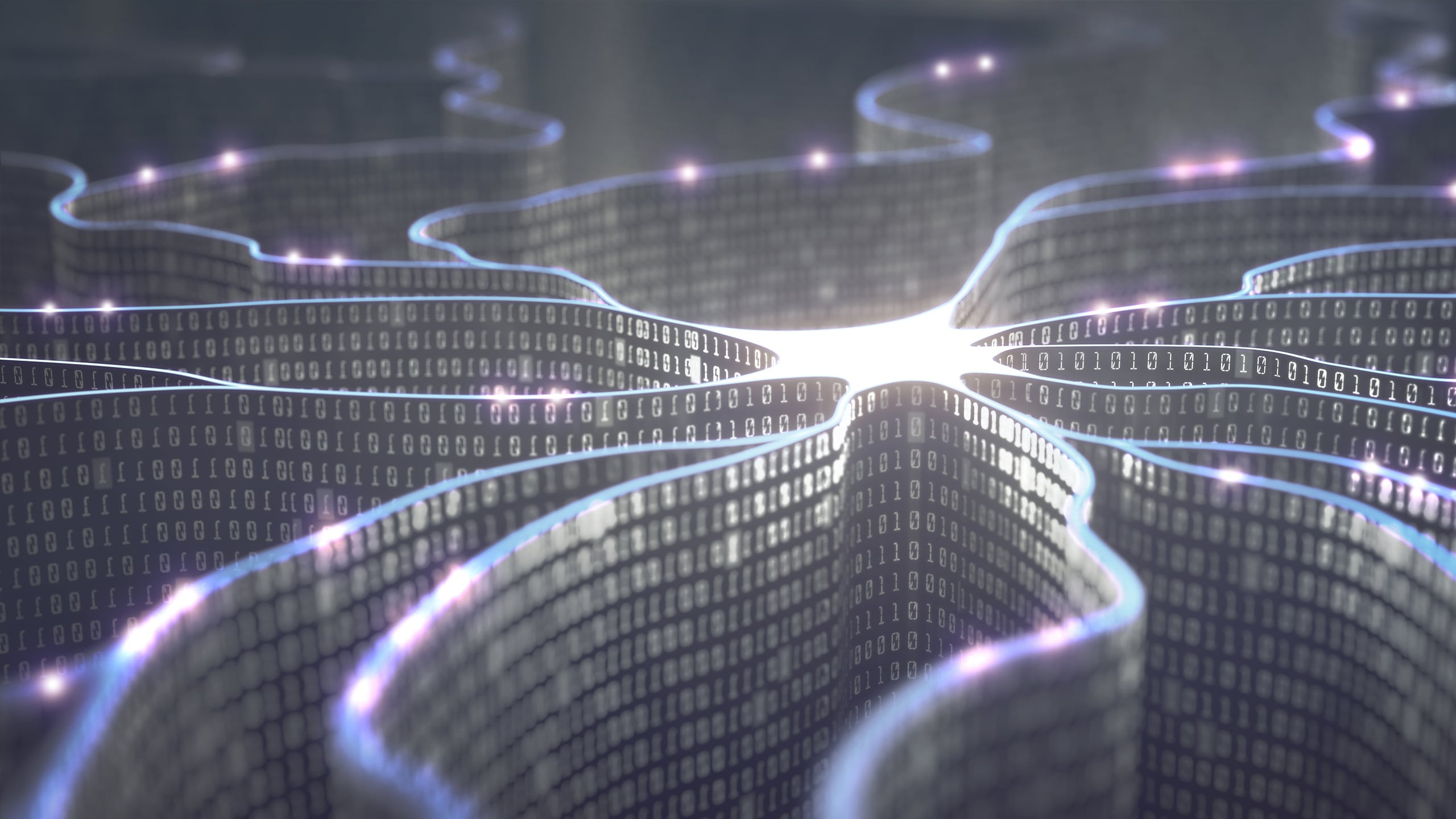 Artificial neuron in concept of artificial intelligence. Wall-shaped binary codes make transmission lines of pulses, information in an analogy to a microchip.
