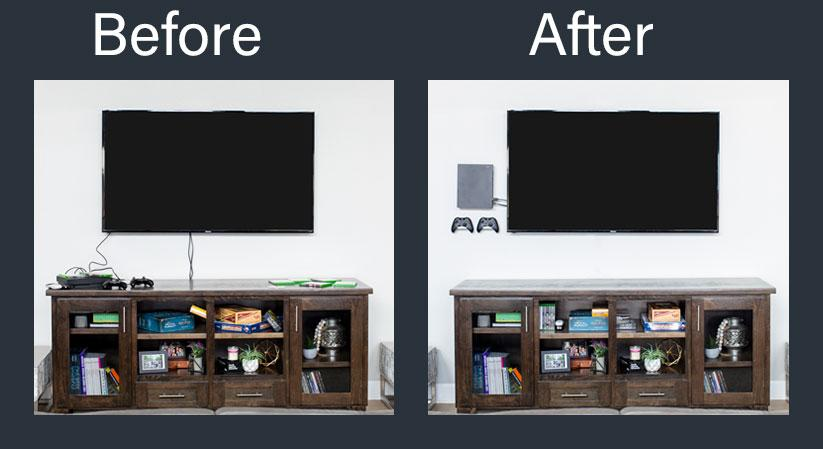 xbox one wall mount before and after